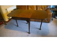 Vintage burr walnut folding dining table with Queen Anne legs. FREE DELIVERY