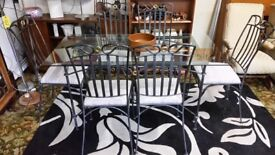 Wrought Iron Grey Dining Table & Six Chairs