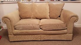 Beige / brown 2 seater sofa with removable cushions