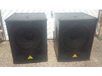 Behringer Eurolive B1800D-Pro Active 18 Subwoofer (pair) and Speaker Poles
