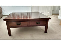 LARGE SQUARE COFFEE TABLE WITH FOUR DRAWERS MAHOGANY