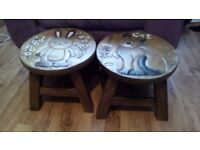 Two children's heavy wooden stools