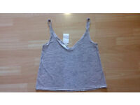 New with Tags Silver Crushed Velvet Strappy Summer Festival Top H&M Size 10 - 12