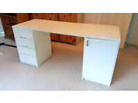 Computer desk -white, double pedestal with cupboard and 4 drawers