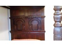 Antique style carved 4 poster bed . Really heavy and solid . Height 2240 width 1865