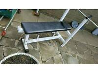 Weight bench bar and two plates
