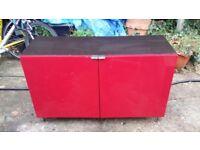 Dark brown and red ikea sideboard / cupboard