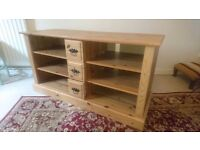 Solid pine tv entertainment audio stereo dvd cd games console computer unit table stand