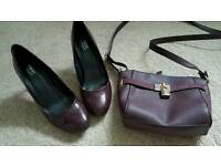 Next wine coloured heels size 5 and matching bag