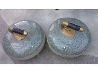 Curling stones, antique, granite.