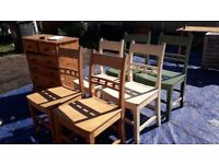 Set of 6 chairs - 2 green/2 cream/2 natural - solid beech