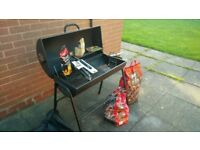Drum BBQ with coal and brand new utensils