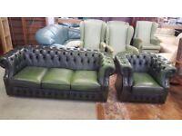 Green Chesterfield sofa & Arm Chair