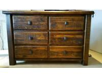 A beautiful solid reclaimed pine wood chest of drawers