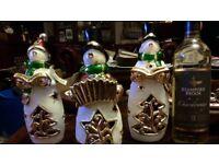 ceramic tall snowman tea lights
