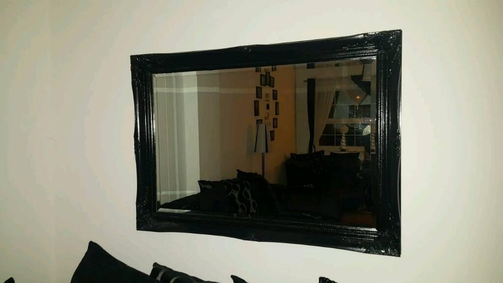 Large Black Bevelled edged Mirror