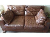 Tan brown leather sofa