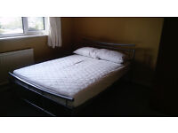 Double bed metal silver color