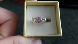 Child's pink swarovski diamond ring