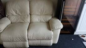 Electric two seater leather recliner