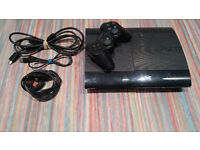 PlayStation 3 Super Slim 500gb with 1 controller and 4 games