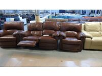 PRE OWNED Nicoletti Manual Reclining 2 Seater + 2 x Power Reclining Chairs in Tan Leather