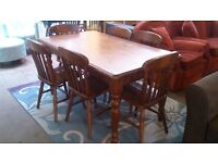 Farmhouse styled dining table with 6 chairs (delivery available)