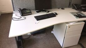 Full office Setup of 5 White Desk and 2 Beach wood Desks with Draws, filing Cabinets Plus chairs etc