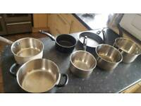 Pots pans,steamer kettle toaster cutlery