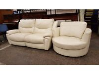 Cream leather electric reclining 2 seater sofa with matching swivel chair