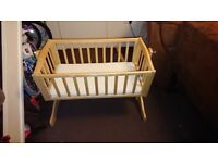 Baby Rocker Crib - Cot Praticly New, Never used, with Mattress