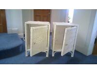 2 Ikea White wicker cabinets