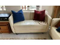 Cream Leather Sofas (2 available)
