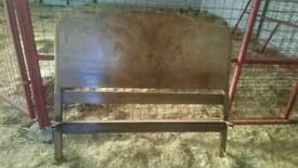 Vintage walnut veneer Bed Headboard And Footboard