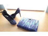 Karen Millen shoes size 6 with matching clutch bag
