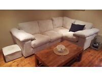 Large Cream Cord Corner Sofa - Good Condition less than 1 year old