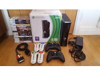 Microsoft Xbox 360 S 250GB Console + 2 wireless controllers + 17 games + ALL CABLES