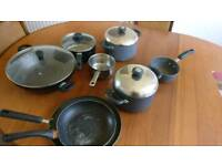 Saucepans and frying pans x8