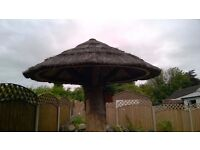 2.8m Timber Roof Conical, with Cape Reed thatched tiles & top cone - thatched sun shade / umbrella