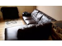 Dark brown leather corner sofa ** MUST GO QUICKLY AS NEW SOFA DUE IN 2 WEEKS!**