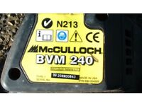 McCULLOCH BVM240 PETROL 2 STROKE LEAF BLOWER OR VACUUM WITH COLLECTOR BAG & INSTRUCTION BOOK GARDEN