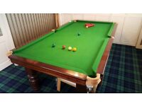 8ft slate bed snooker table with canopy, cues, snooker and pool balls etc