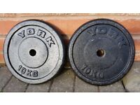 YORK & BODY POWER 10KG CAST IRON WEIGHT PLATES