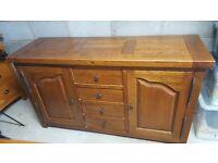 French Oak Side Board with draw & cupboard space