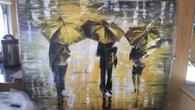 Canvas 3 yellow umbrella by LEONID AFREMOV