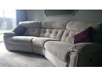 D f s light grey reclining corner sofa and one reclining chair
