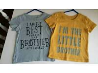 2 boys 12-18m brother tops £3 for both