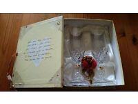 bride & groom glass gift box set