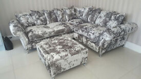 4.8 metre 5 Seat Brand New Hand made Large Chesterfield Lustro Crushed Velvet Corner Sofa