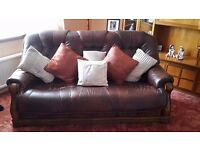 Leather suite...sofa, chair and foot stool